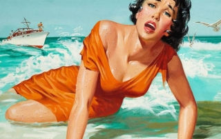 Distressed Woman on Beach Pop Art Pulp Fiction Art